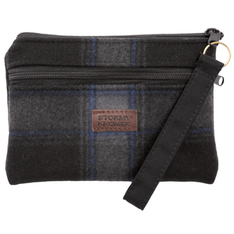 Grey / Black / Blue Wool Wristlet