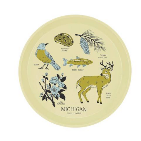 Michigan State Symbols Tray