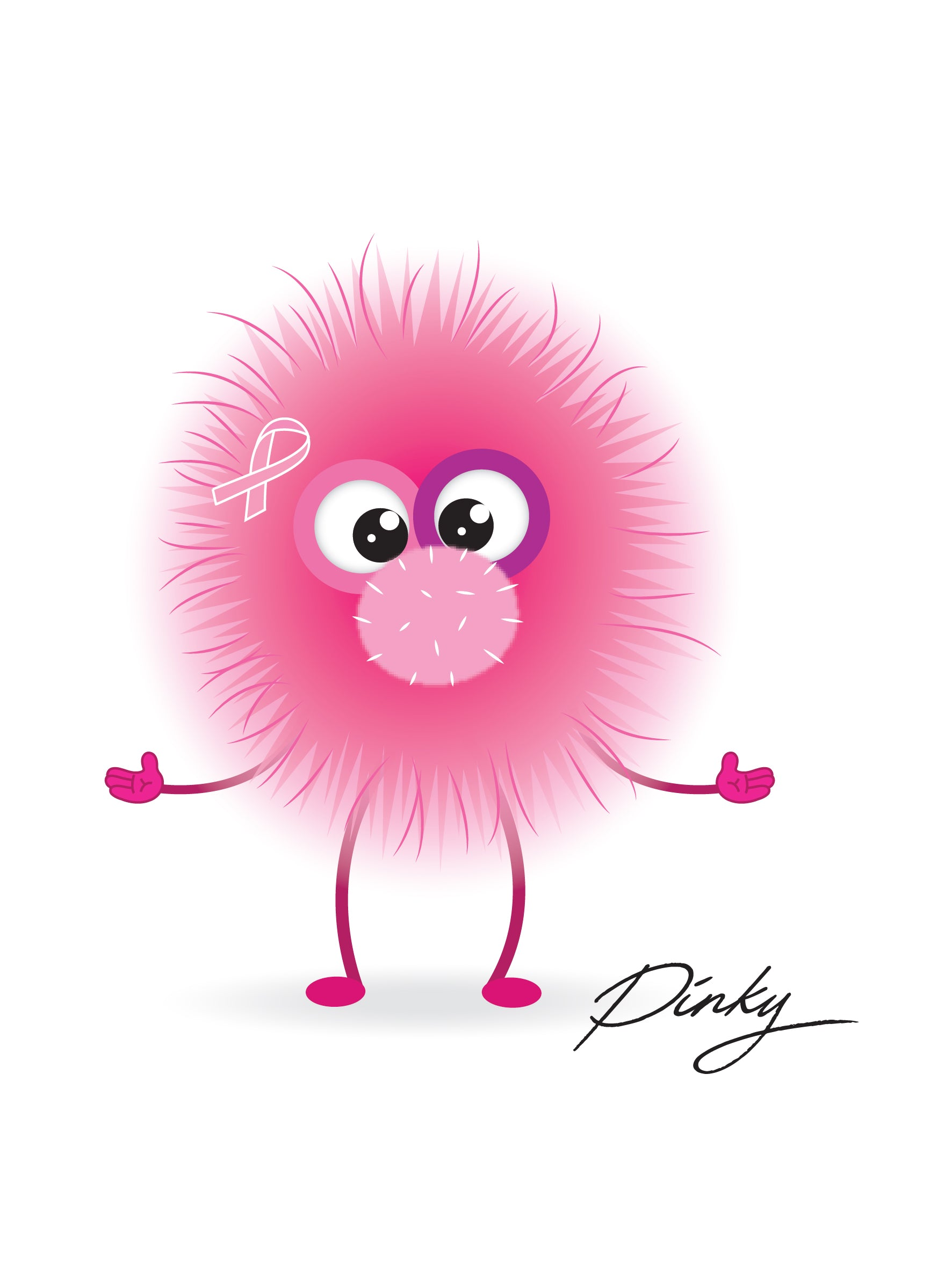 Pinky The Happy Monster Pencil for Breast Cancer