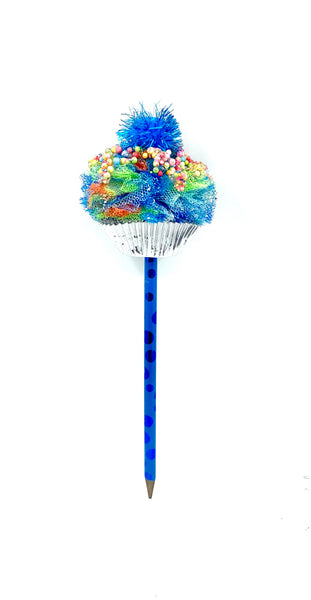 Large Blue Cupcake Pencil