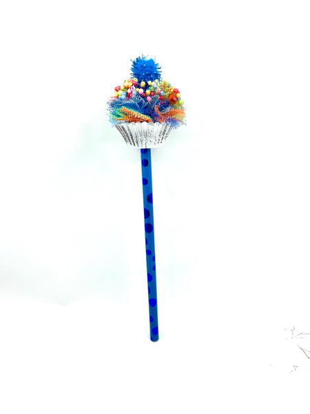Small Blue Cupcake Pencil