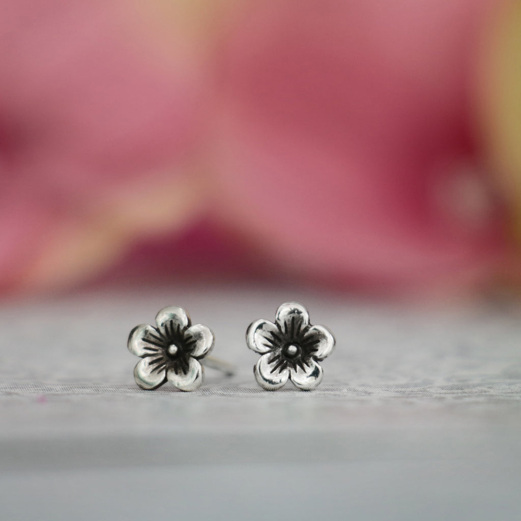 Sterling Silver Cherry Blossom Stud Earrings by Moonkist Designs