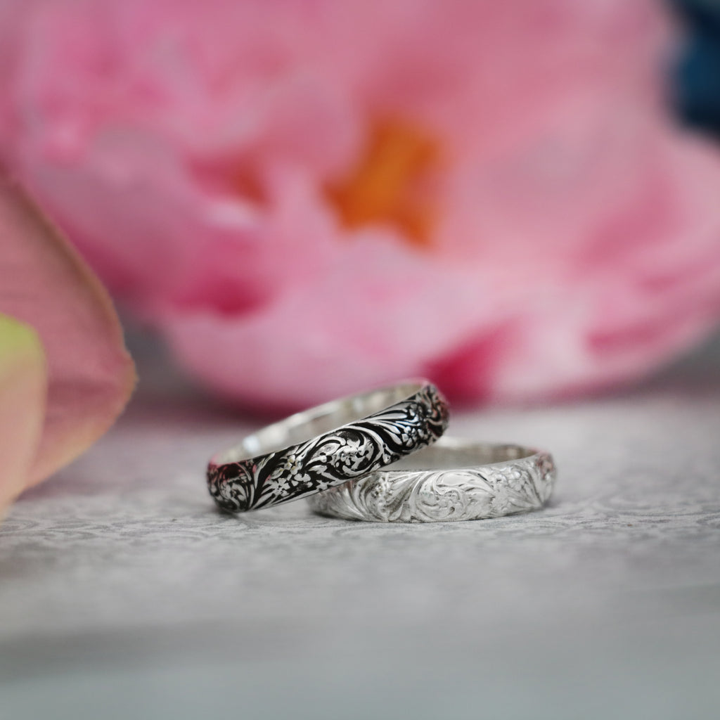 Silver Floral Pattern Medium Wedding Ring