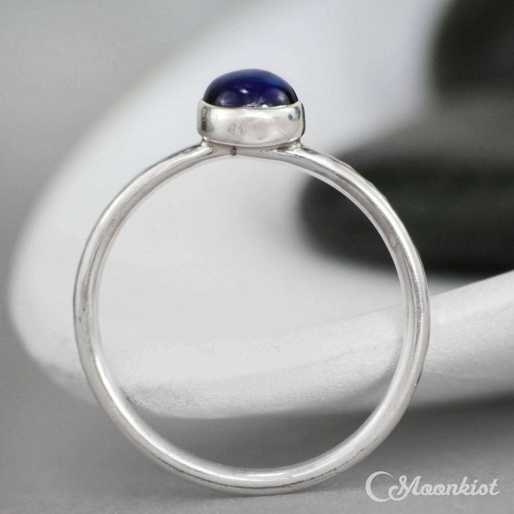 Simple Silver Blue Sapphire Gemstone Stacking Ring | Moonkist Designs