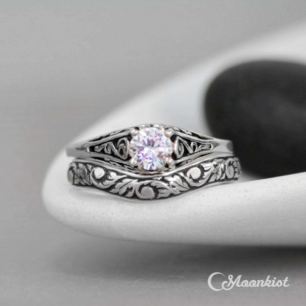 Dainty Filigree Engagement Ring Set with Floral Fitted Band | Moonkist Designs