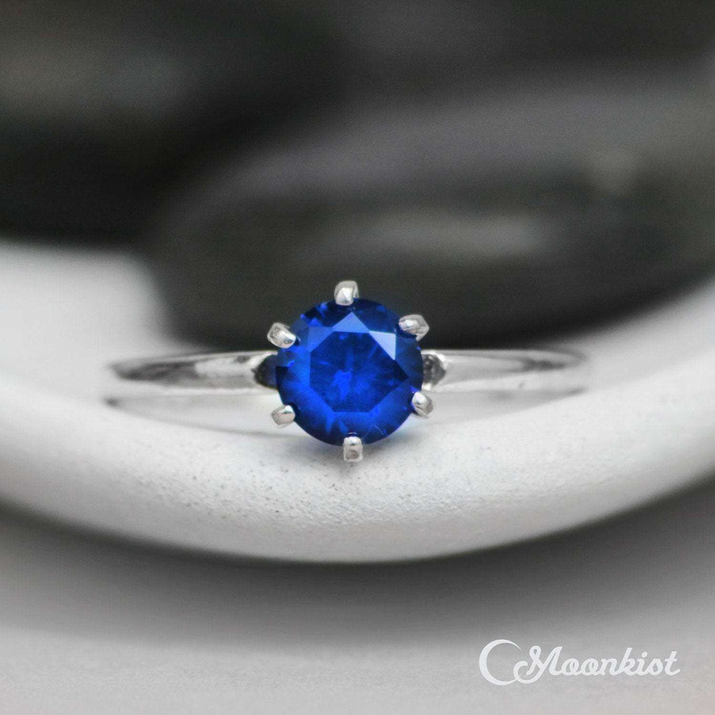 Sterling Silver Classic Blue Sapphire Solitaire Ring | Moonkist Designs