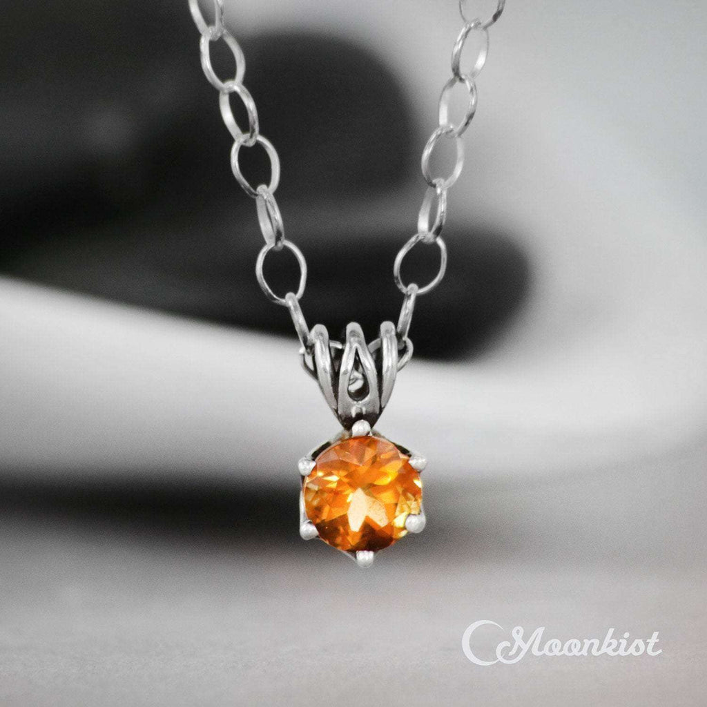 Sterling Silver Citrine Solitaire Gemstone Necklace | Moonkist Designs