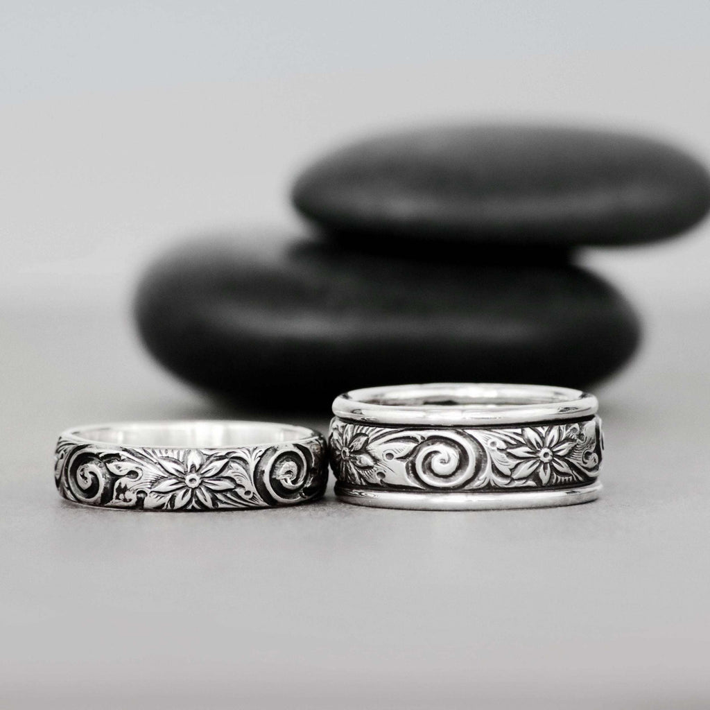 Spiral and Flower Sterling Silver Matching Wedding Bands | Moonkist Designs