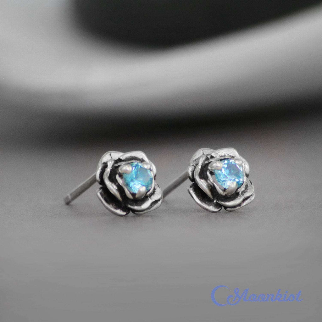 Sterling Silver Blue Topaz Rose Stud Earrings | Moonkist Designs