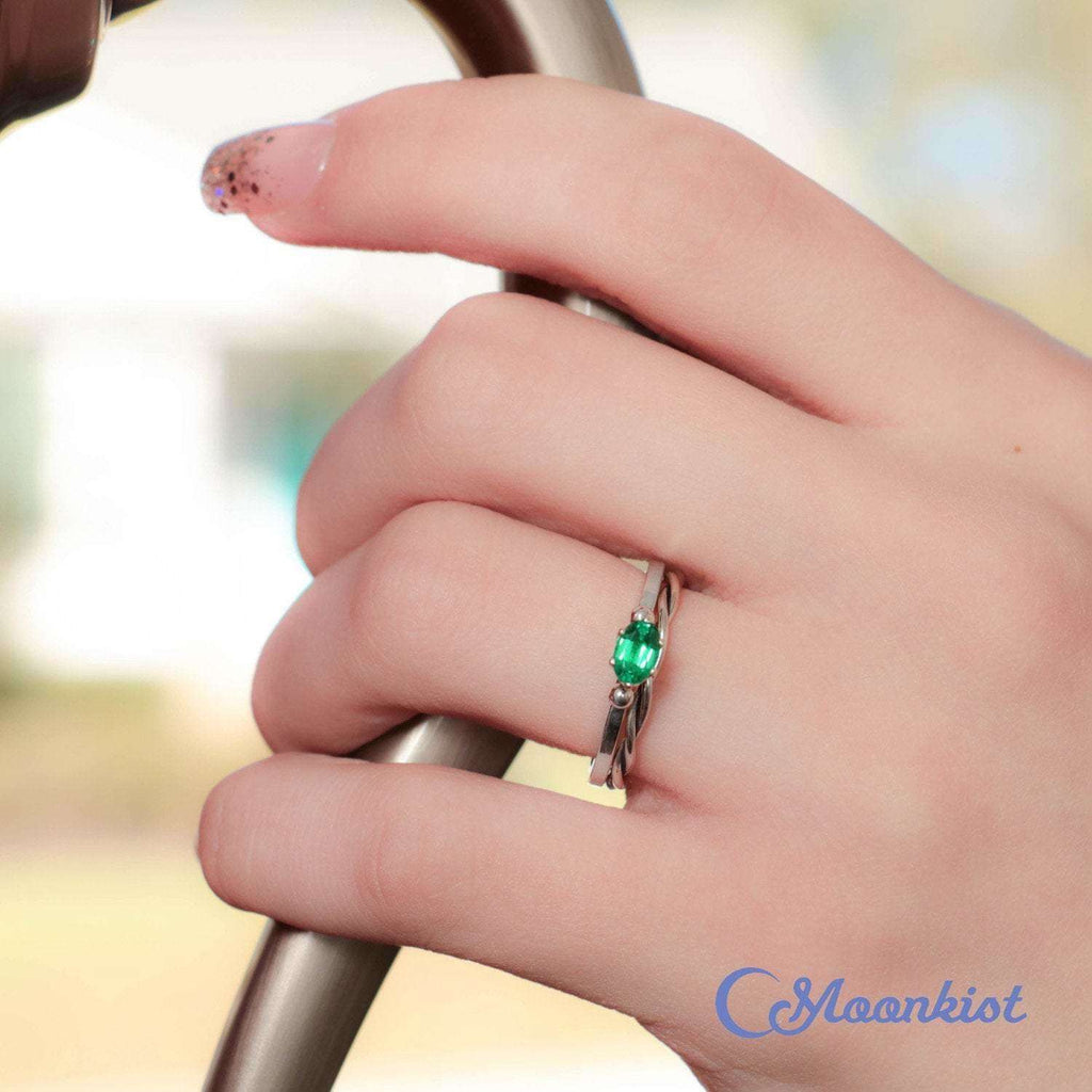 Simple Silver Emerald Oval Engagement Ring Set with Twist Band | Moonkist Designs