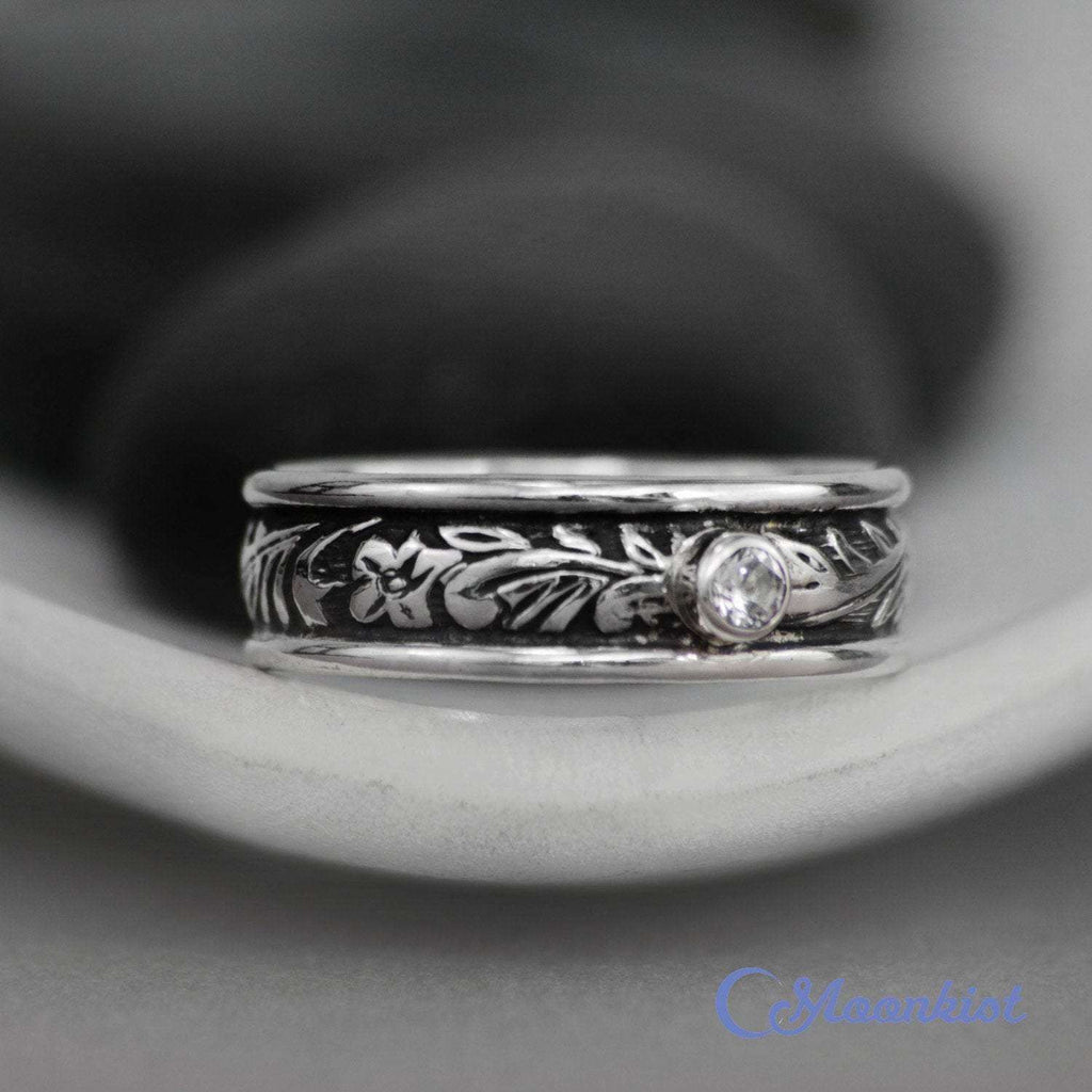 Sterling Silver Flower and Leaf Mens Engagement Ring | Moonkist Designs