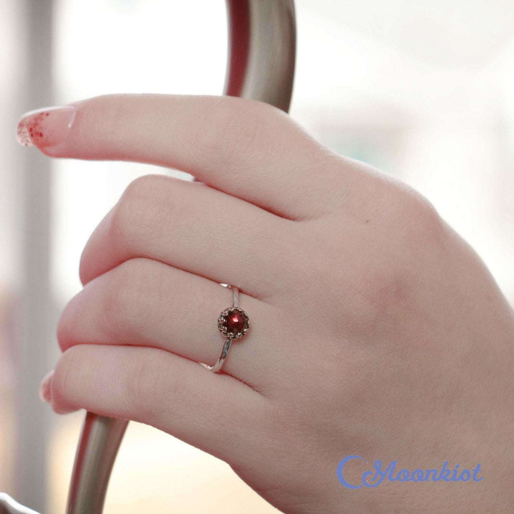 Dainty Garnet Ring, Sterling Silver Garnet Promise Ring, Red Gemstone Ring, January Birthstone Ring, Valentines Gift | Moonkist Designs