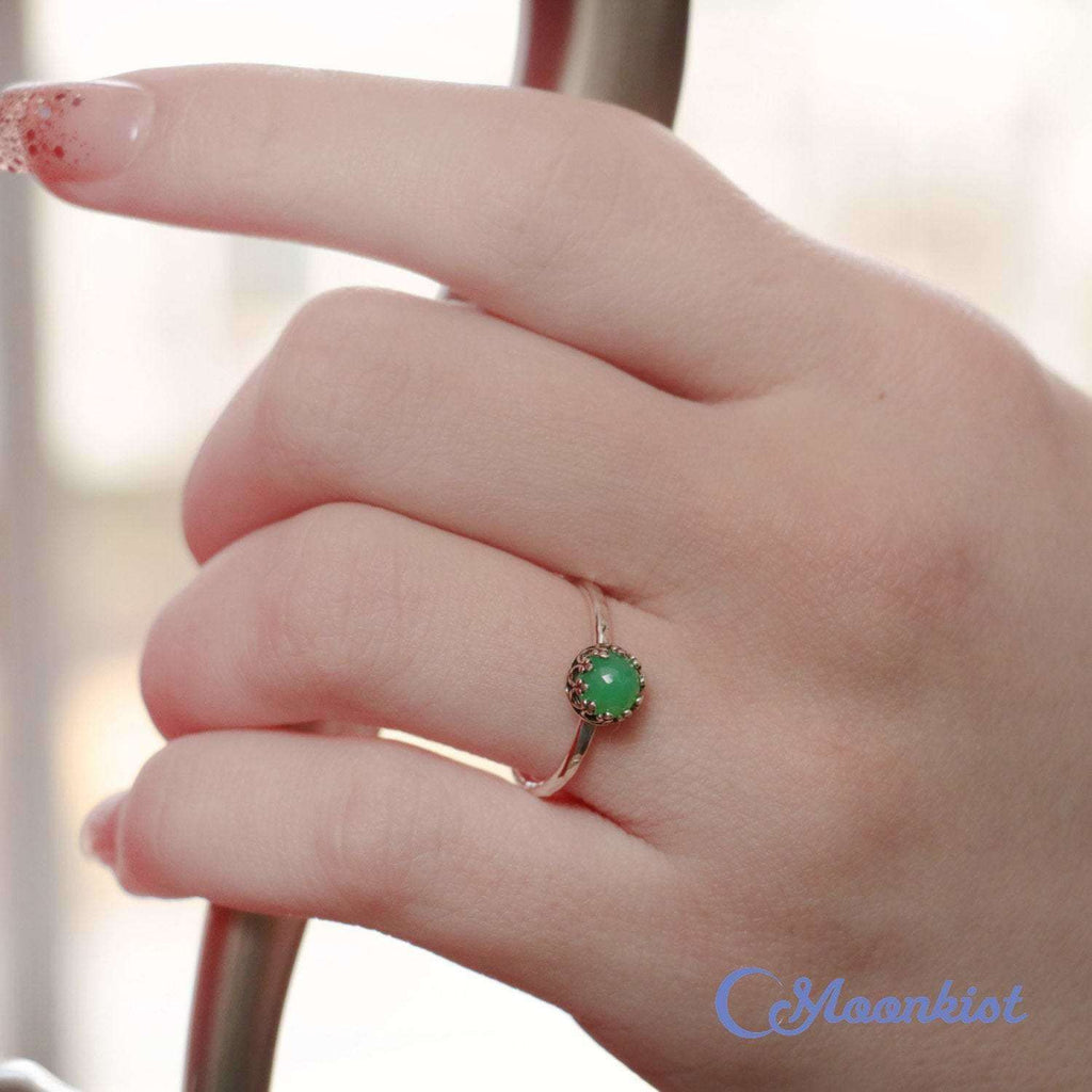 Sterling Silver Chrysoprase Ring, Dainty Rose Cut Ring, Green Gemstone Ring | Moonkist Designs