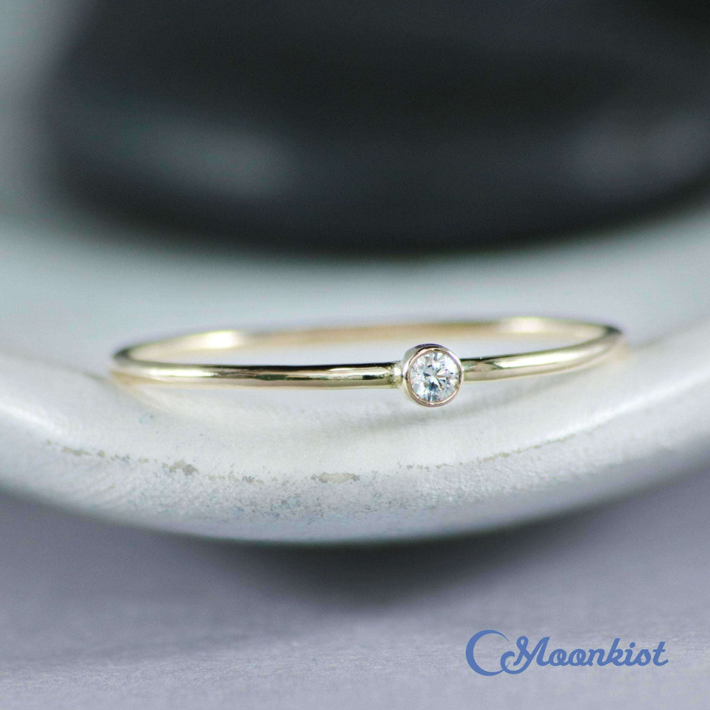 Dainty Gold Diamond Promise Ring | Moonkist Designs