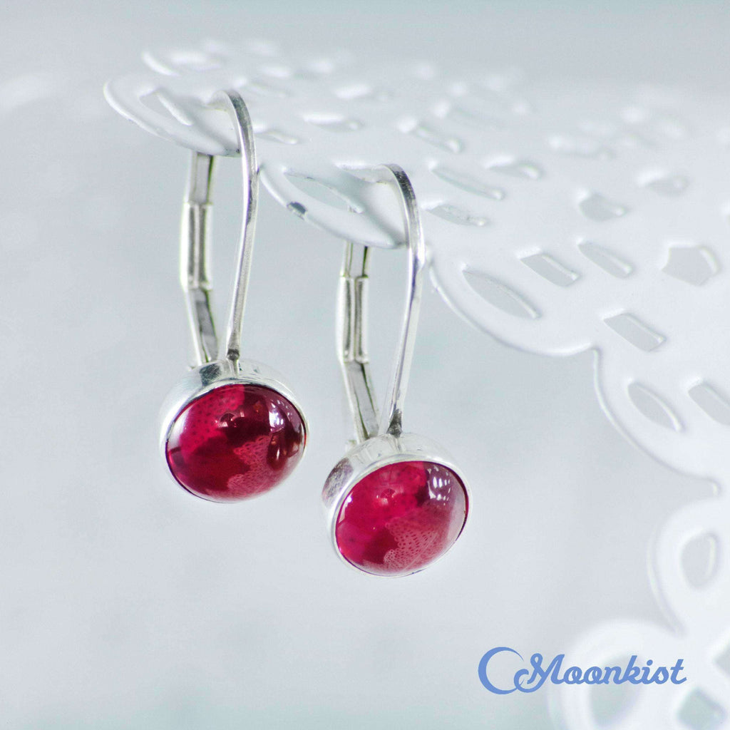 Simple Ruby Leverback Earrings in Sterling Silver | Moonkist Designs