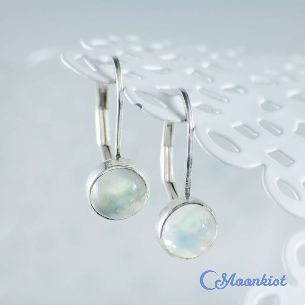 Simple White Moonstone Leverback Earrings 925 Sterling Silver | Moonkist Designs