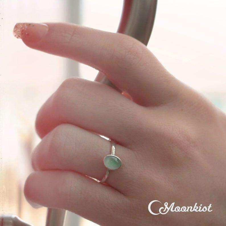 Delicate Oval Aquamarine Promise Ring | Moonkist Designs