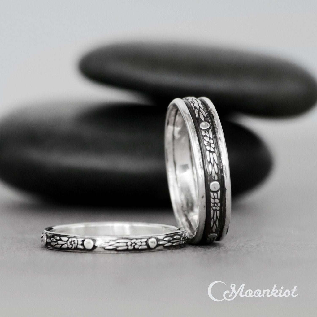 Sterling Silver Celestial Wedding Band Sets for Him and Her | Moonkist Designs