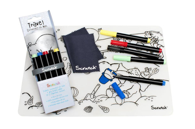 Scrunch silicone Drawing Mat with 5 Pens - By The Sea