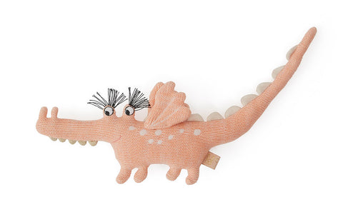 OYOY Darling Rattle Baby Yoshi Crocodile toy Coral