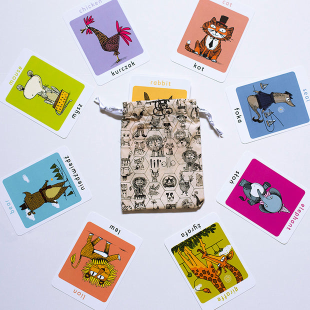 Lil'Ollo Animal Flash Cards - French or Spanish