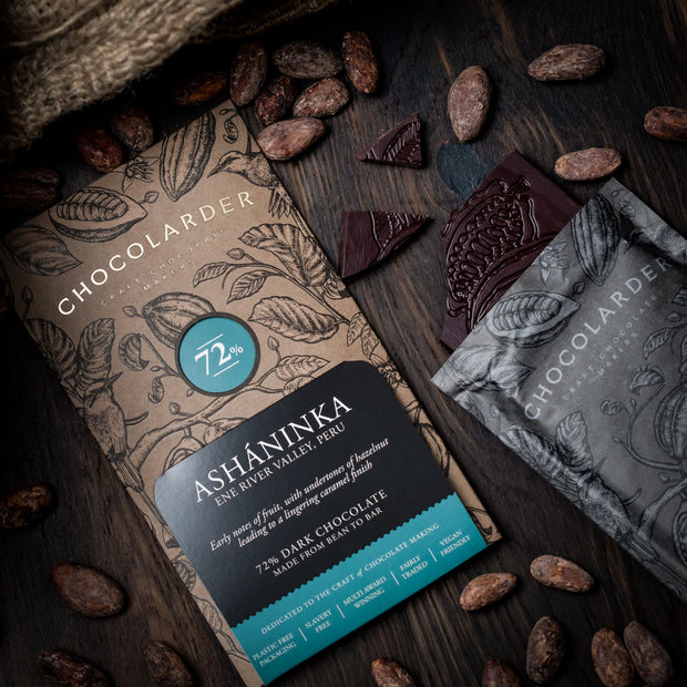 Chocolarder vegan Asháninka 72% Dark Chocolate bar
