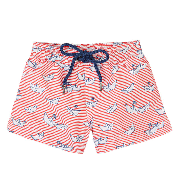 sunuva baby boys stripy paper boat print swim shorts with drawstrings