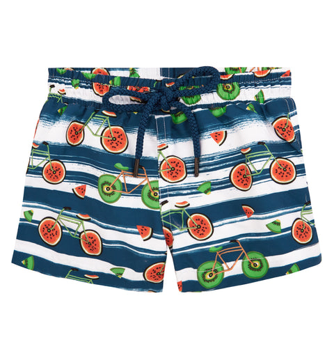 sunuva baby boys fruit bike print swim shorts with drawstrings