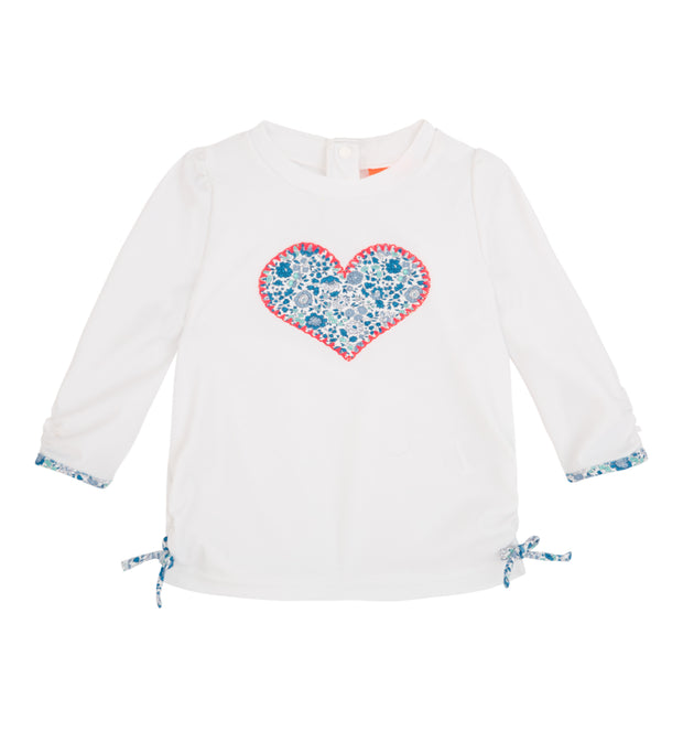 sunuva baby girl white heart appliqué sun protection rash vest