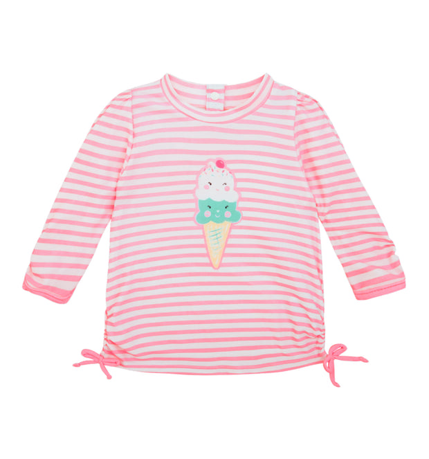 sunuva baby girl pink stripy ice cream sun protection rash vest