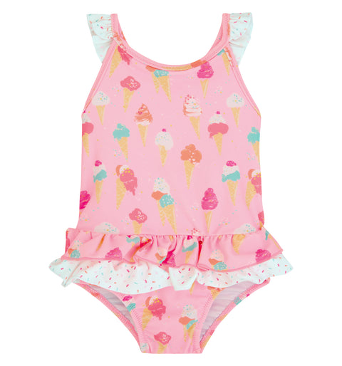 sunuva baby girl pink ice cream print swimsuit