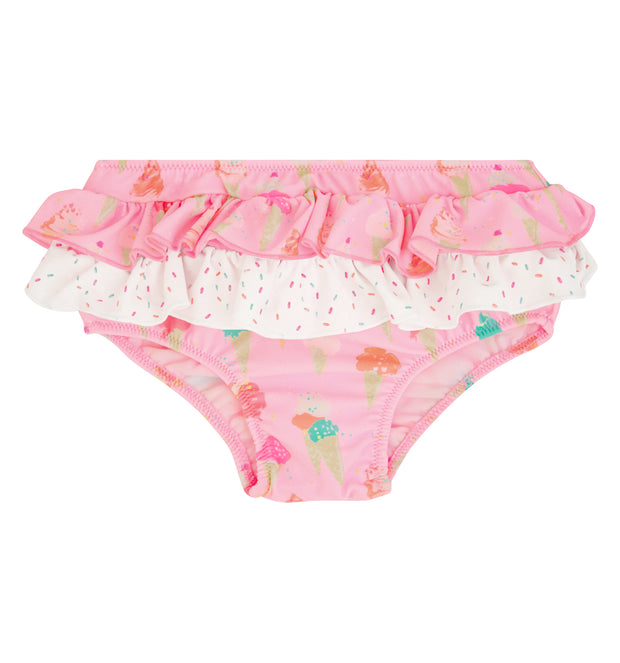 sunuva baby girl pink frill ice cream print swim nappy pants