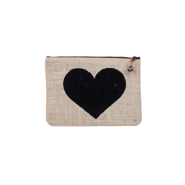 Something Samarah handmade natural Jute Clutch Black Heart