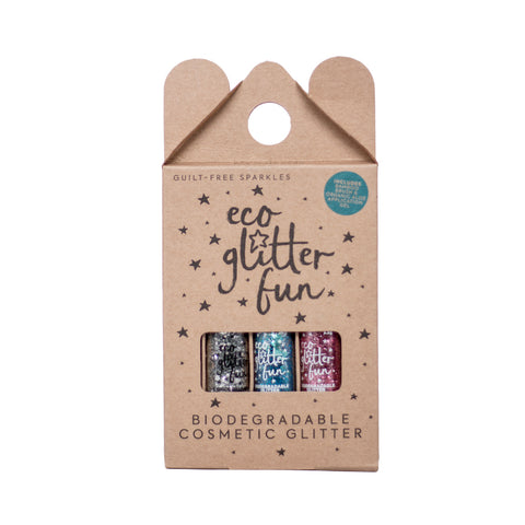 Eco glitter Fun Box of 3 biodegradable cosmetic glitter pink silver blue