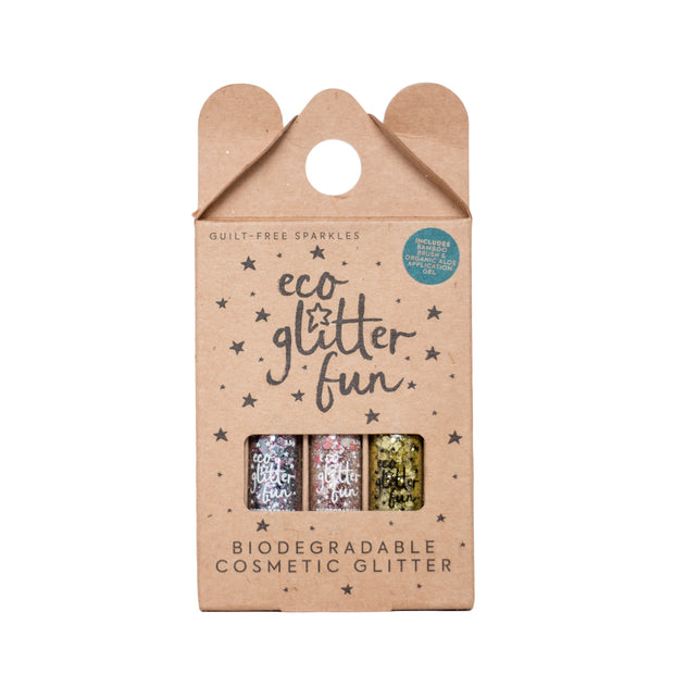 Eco glitter Fun Box of 3 biodegradable cosmetic glitter pink gold silver