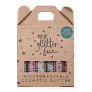 Eco Glitter Fun Pinky Set Box of 6 biodegradable cosmetic glitter