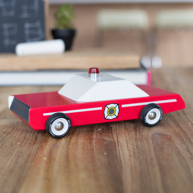 candylab red wooden fire chief car