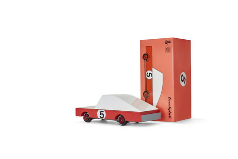 candylab red racer #5 wooden car
