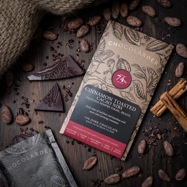 Chocolarder vegan Cinnamon Toasted Cacao Nibs 74% Dark chocolate bar