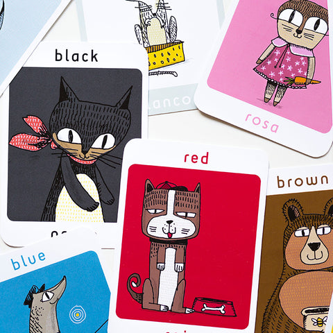 Lil'Ollo Colours Flash Cards - French or Spanish