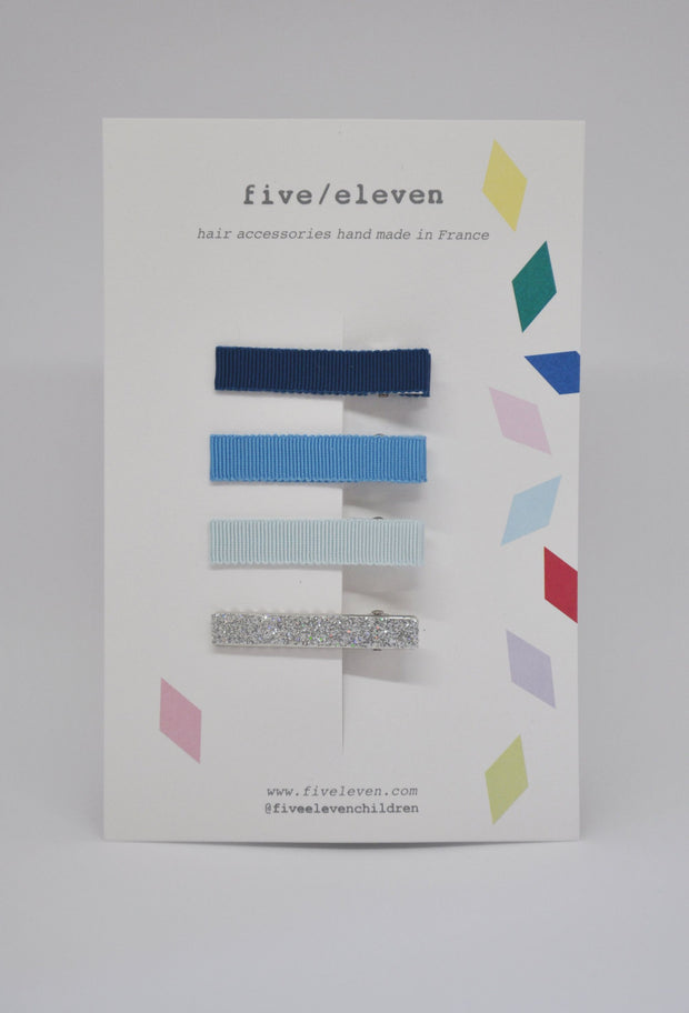 Five/Eleven Set of 4 Flat Hair Clips blues