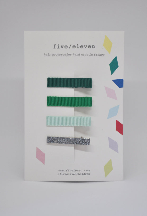 Five/Eleven Set of 4 Flat Hair Clips greens