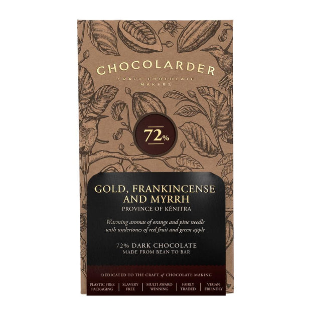 Chocolarder Gold, incienso y mirra 72% chocolate negro