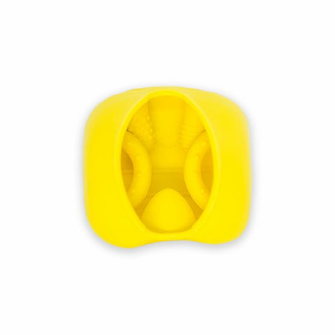 inside of the yellow bee silicone baby snack container and teether