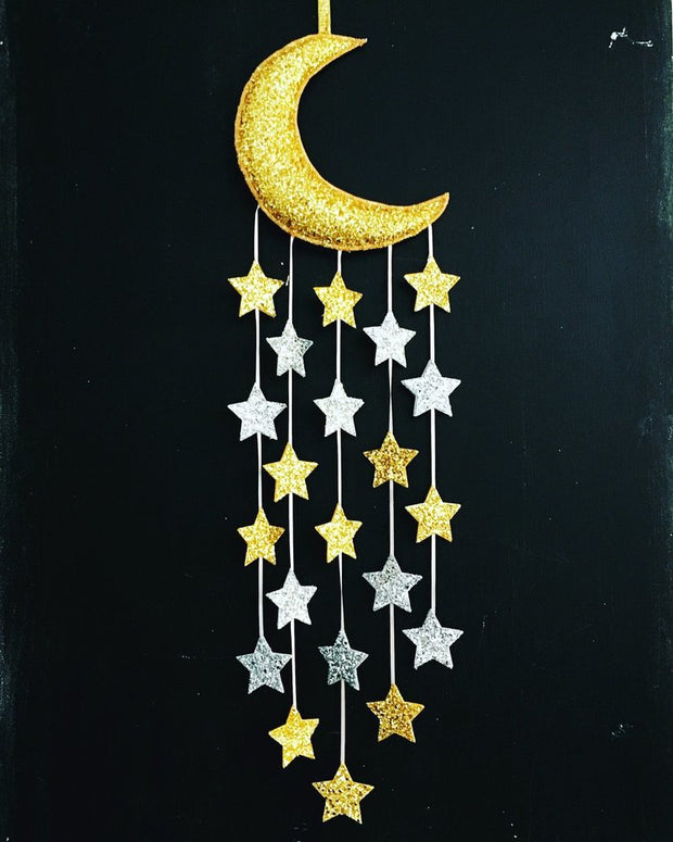 Sparkle Child Moon & Stars Mobile con brillo dorado y plateado