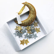 sparkle child moon and stars mobile in a gift box