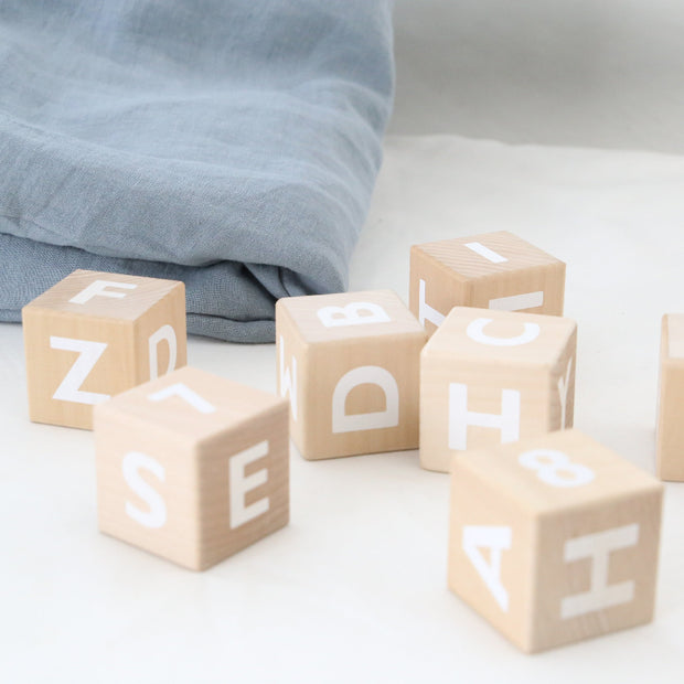 OOH NOO wooden Alphabet Blocks educational toy with linen storage bag