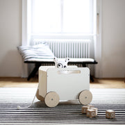 OOH NOO wooden pull along Toy Chest on Wheels