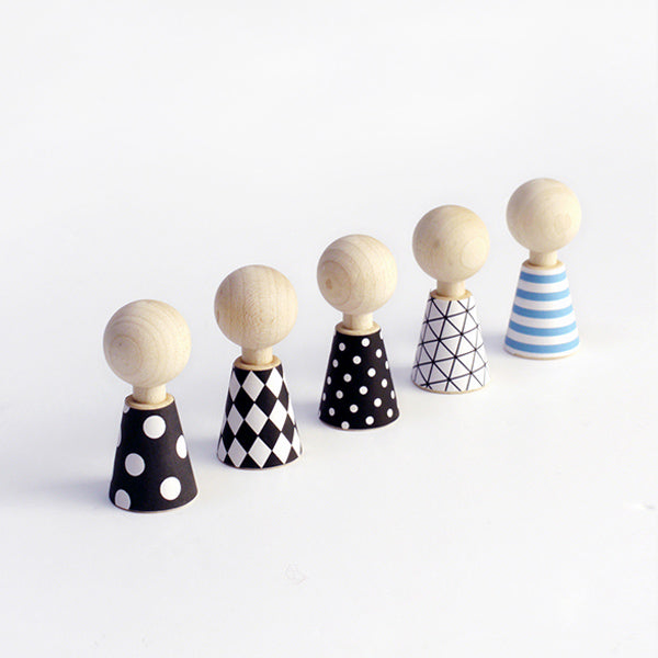 Rock & Pebble wooden Modern Pebbles dress up dolls