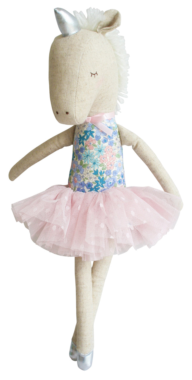 Alimrose yvette unicorn soft toy doll libery blue